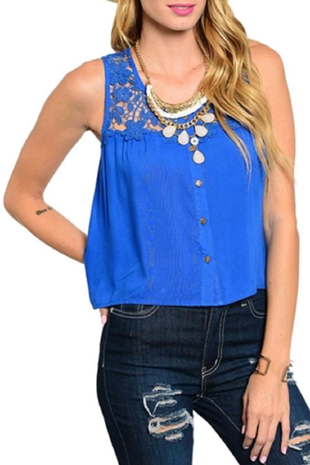 WFS Royal Blue Crochet Tank Top - Front Cropped Image