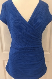 Joseph Ribkoff Royal blue wrap front top with pleats - Product Mini Image