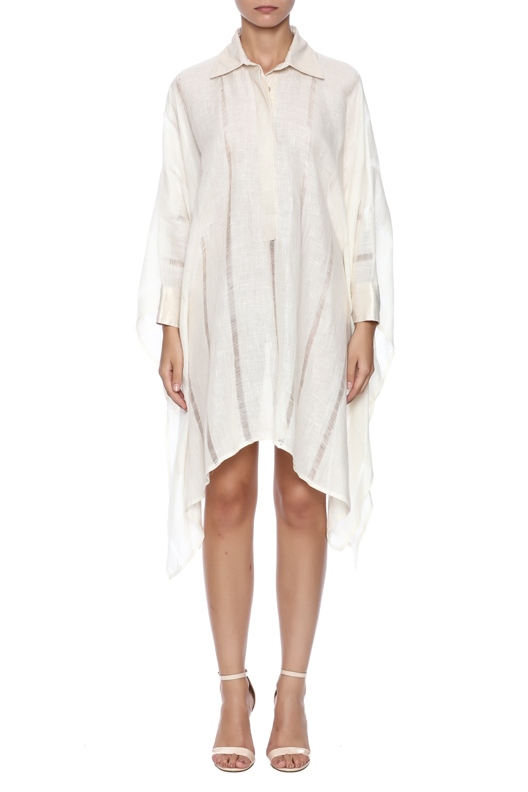 Royal Jelly Harlem Ivory Stripe Shirt Dress - Front Cropped Image