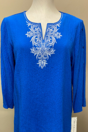 Alfred Dunner Royal top with white trim - Product Mini Image