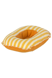 Maileg Rubber Boat - Small Mouse/Yellow Stripe - Front cropped