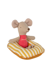 Maileg Rubber Boat - Small Mouse/Yellow Stripe - Front full body