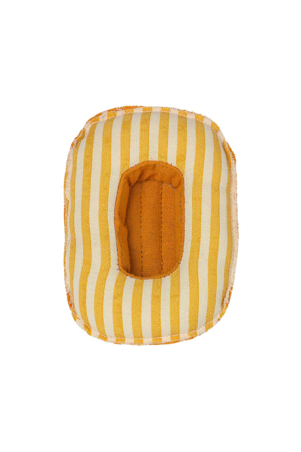 Maileg Rubber Boat - Small Mouse/Yellow Stripe - Side Cropped Image