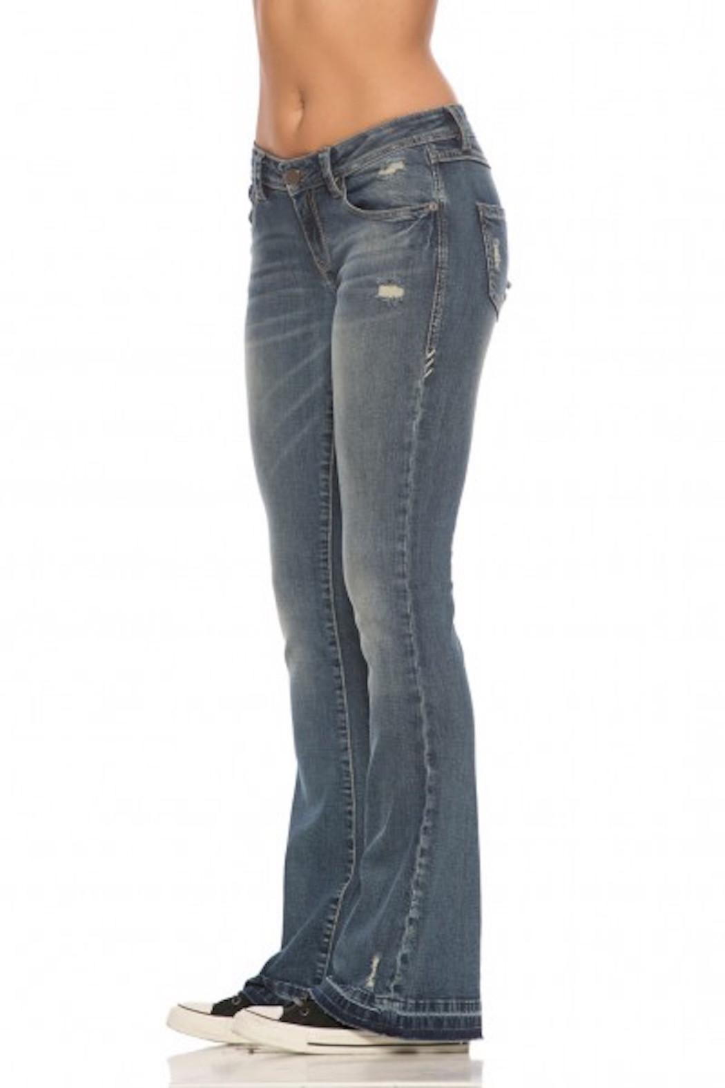 Rubberband Stretch Karen Flares Jeans - Front Full Image