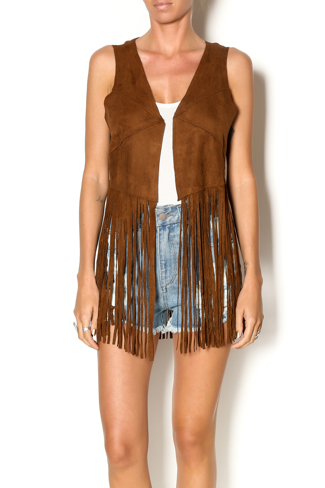 Ruby and Jenna Faux Suede Fringe Vest from Manhattan ...