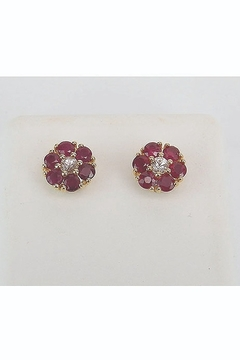 Margolin & Co Ruby and White Sapphire Flower Stud Earrings - Product List Image