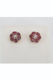 Margolin & Co Ruby and White Sapphire Stud Earrings Flower Wedding Studs Yellow Gold July Birthstone - Product Mini Image