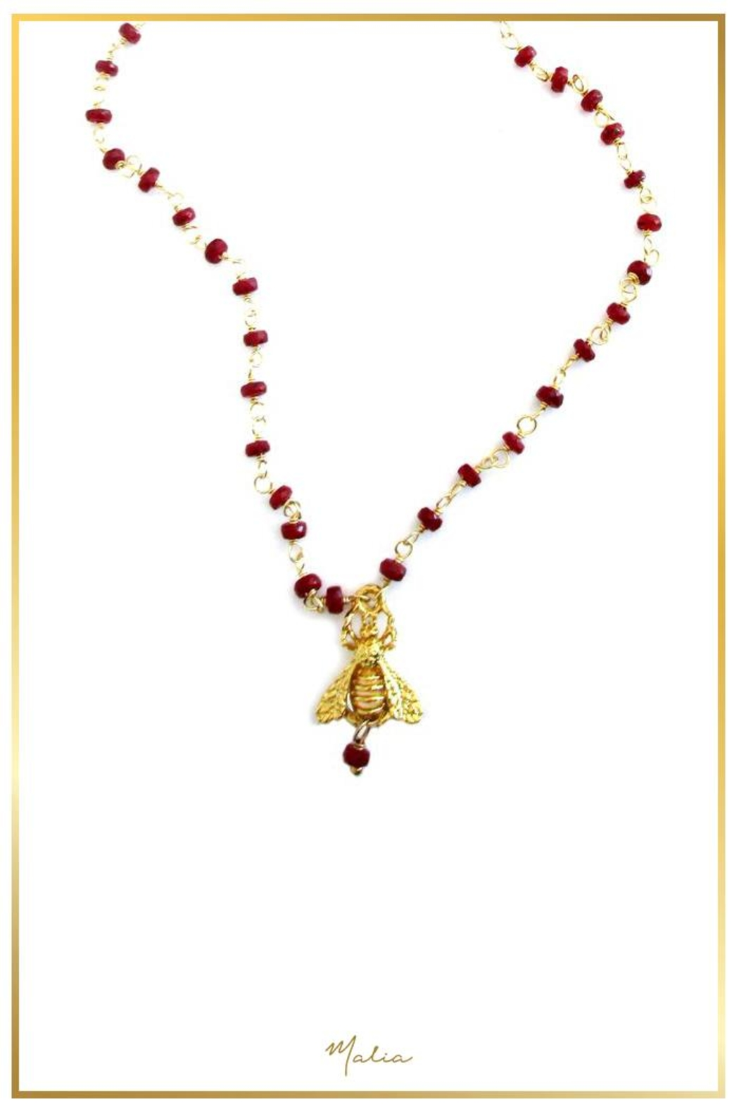 Malia Jewelry Ruby Bee Necklace - Main Image