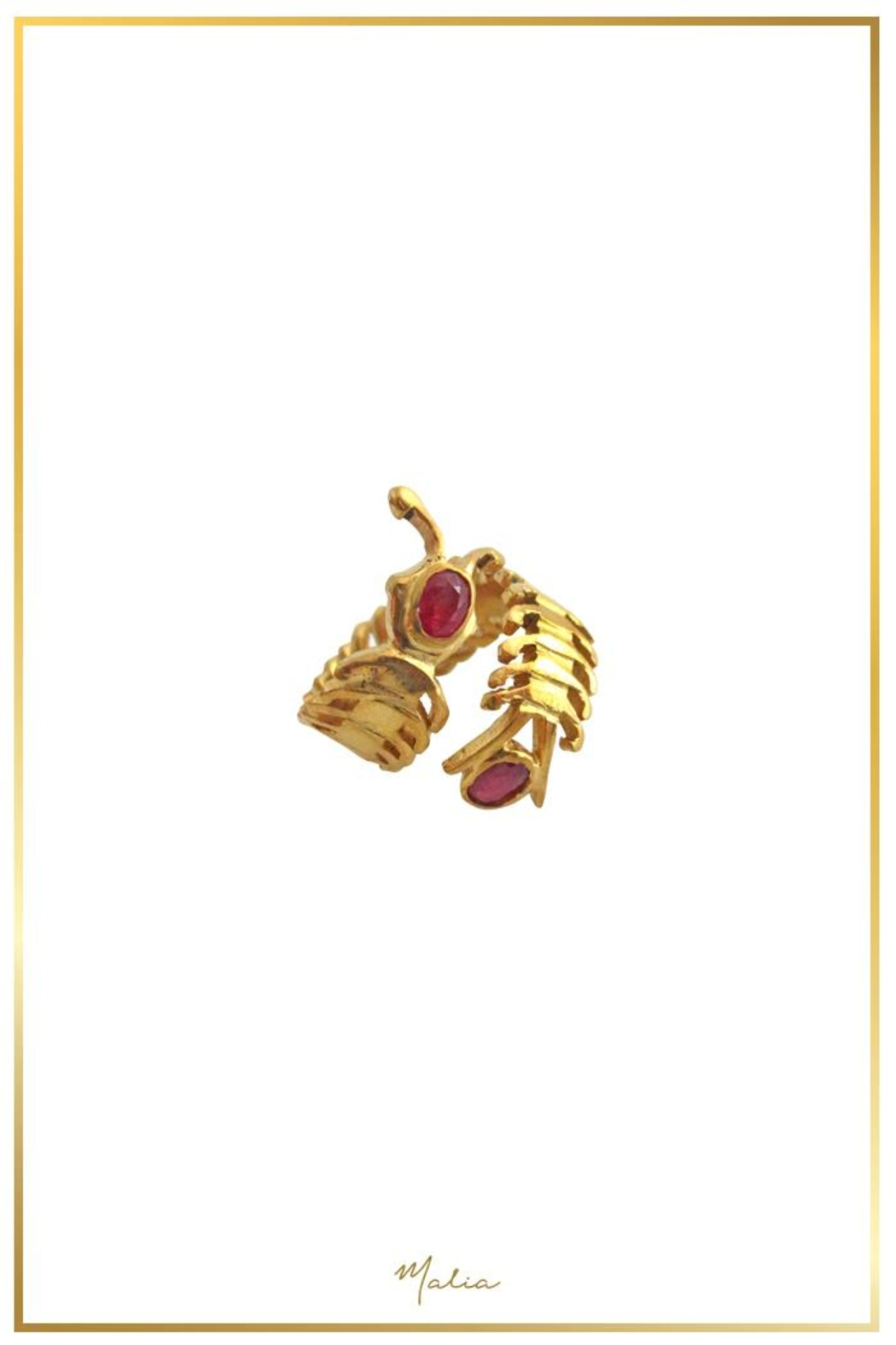 Malia Jewelry Ruby Centipede Ring - Front Full Image