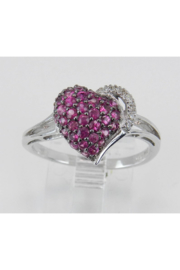 Margolin & Co Ruby Heart Ring, Ruby and Diamond Ring, Ruby Cluster Ring, White Gold Ring, Red Gemstone Ring, July Birthstone, Heart Ring, Size 7 - Product Mini Image