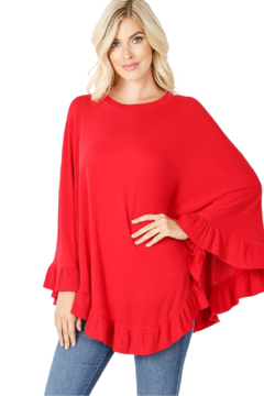 Zenana Outfitters Ruby Red Poncho - Alternate List Image