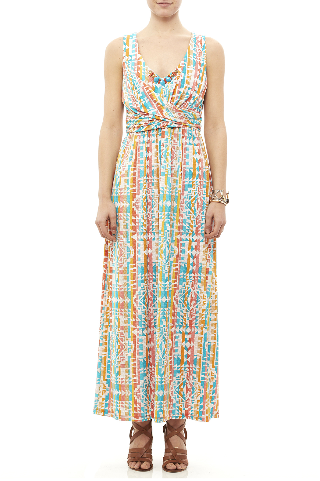 Ruby Road Colorful Print Maxi - Front Cropped Image