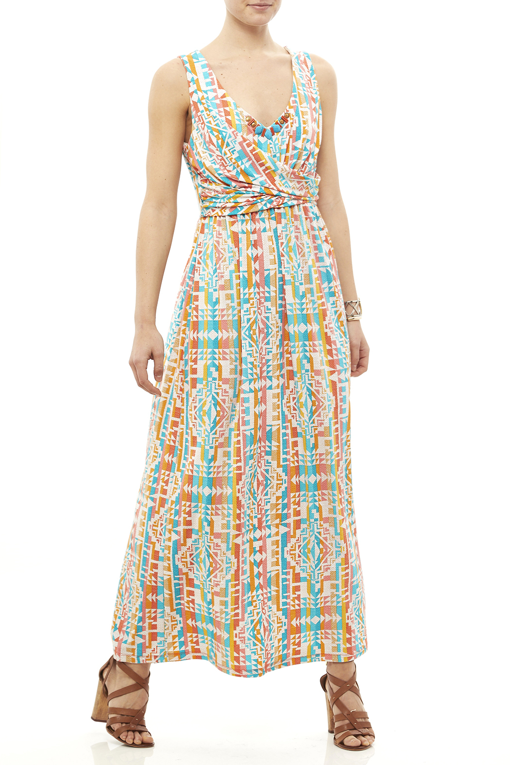 Ruby Road Colorful Print Maxi - Front Full Image