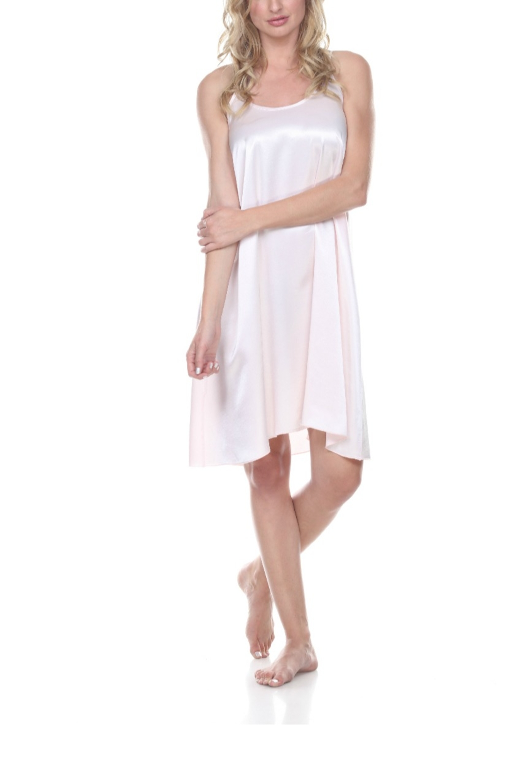 PJHARLOW RUBY Satin Nightgown With Spaghetti Strap And Gathered Back - Front Cropped Image