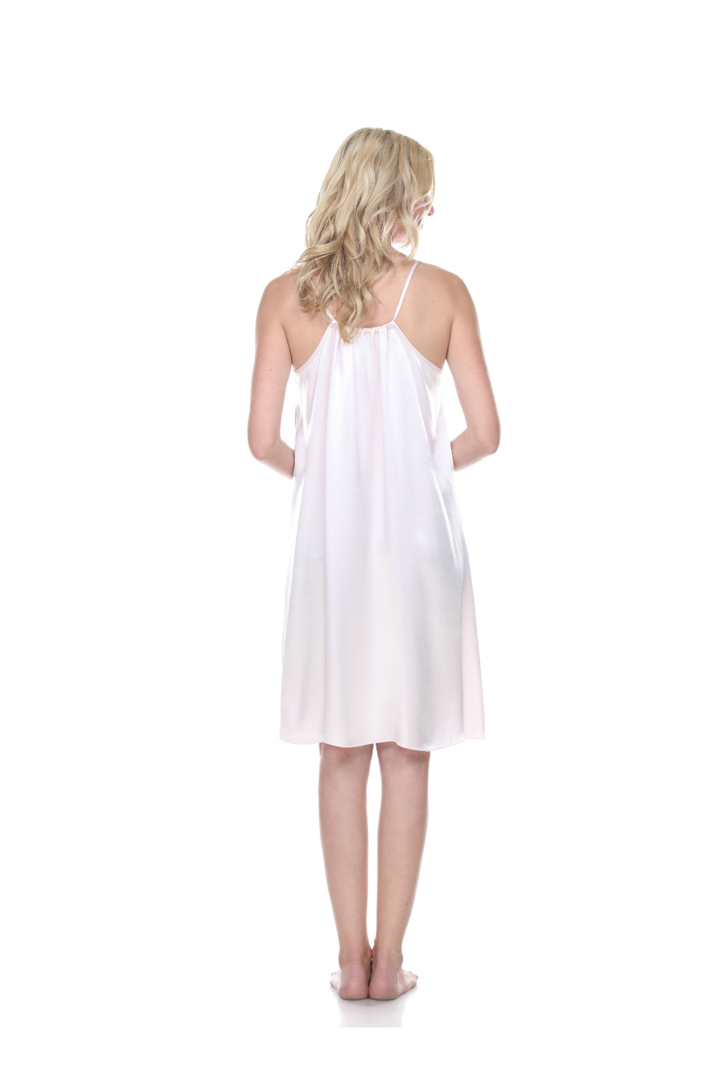 PJHARLOW RUBY Satin Nightgown With Spaghetti Strap And Gathered Back - Front Full Image