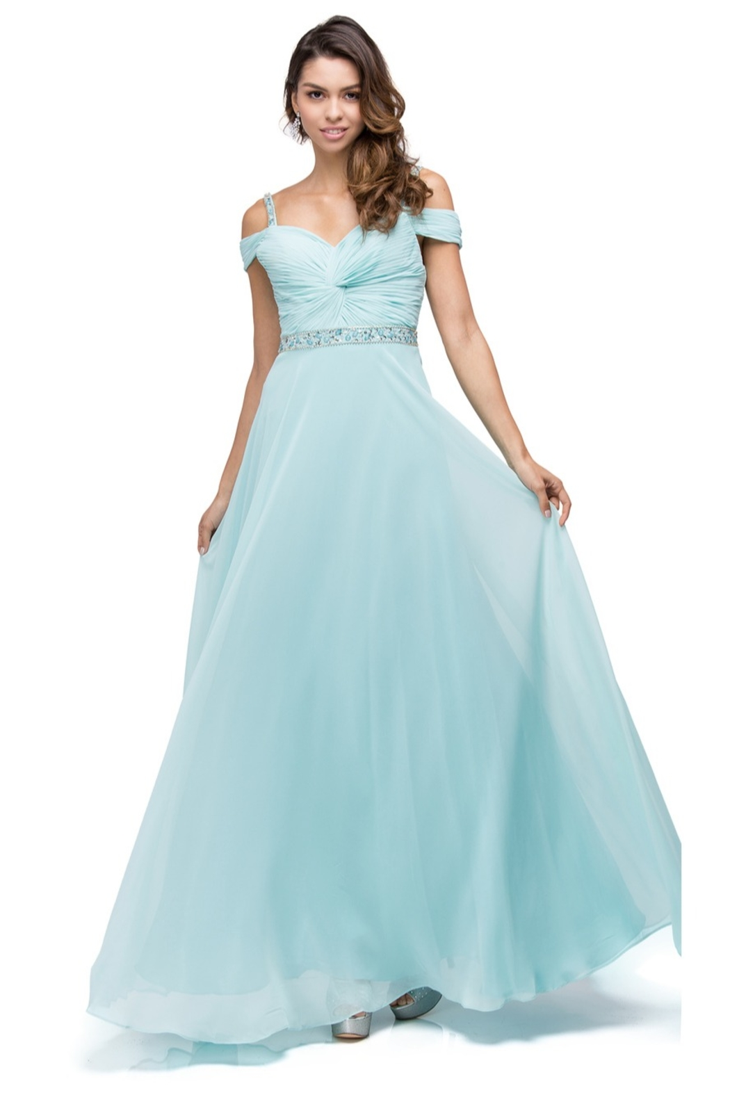 DANCING QUEEN Ruched Bejeweled Cold Shoulder Chiffon Dress - Front Cropped Image