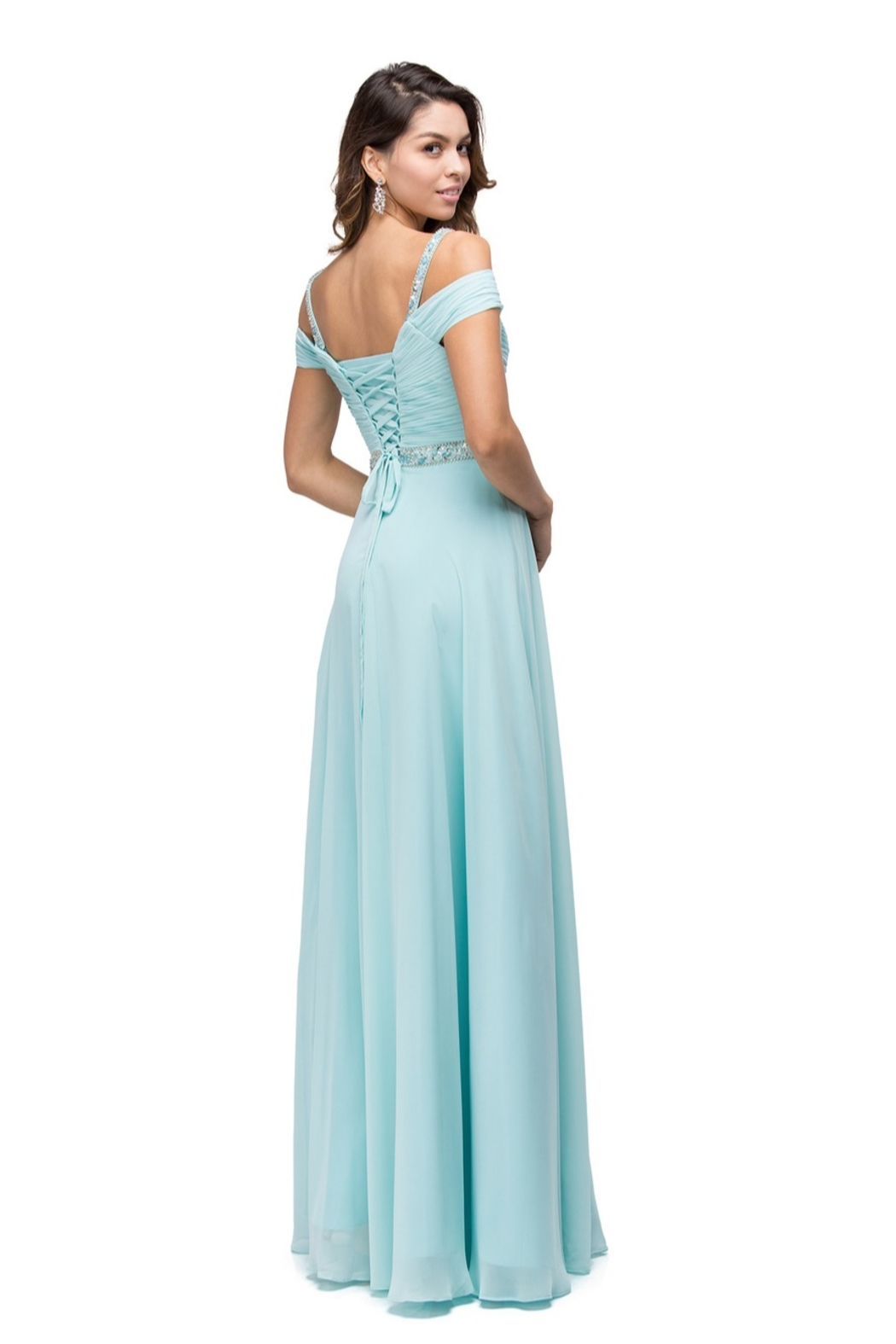 DANCING QUEEN Ruched Bejeweled Cold Shoulder Chiffon Dress - Front Full Image