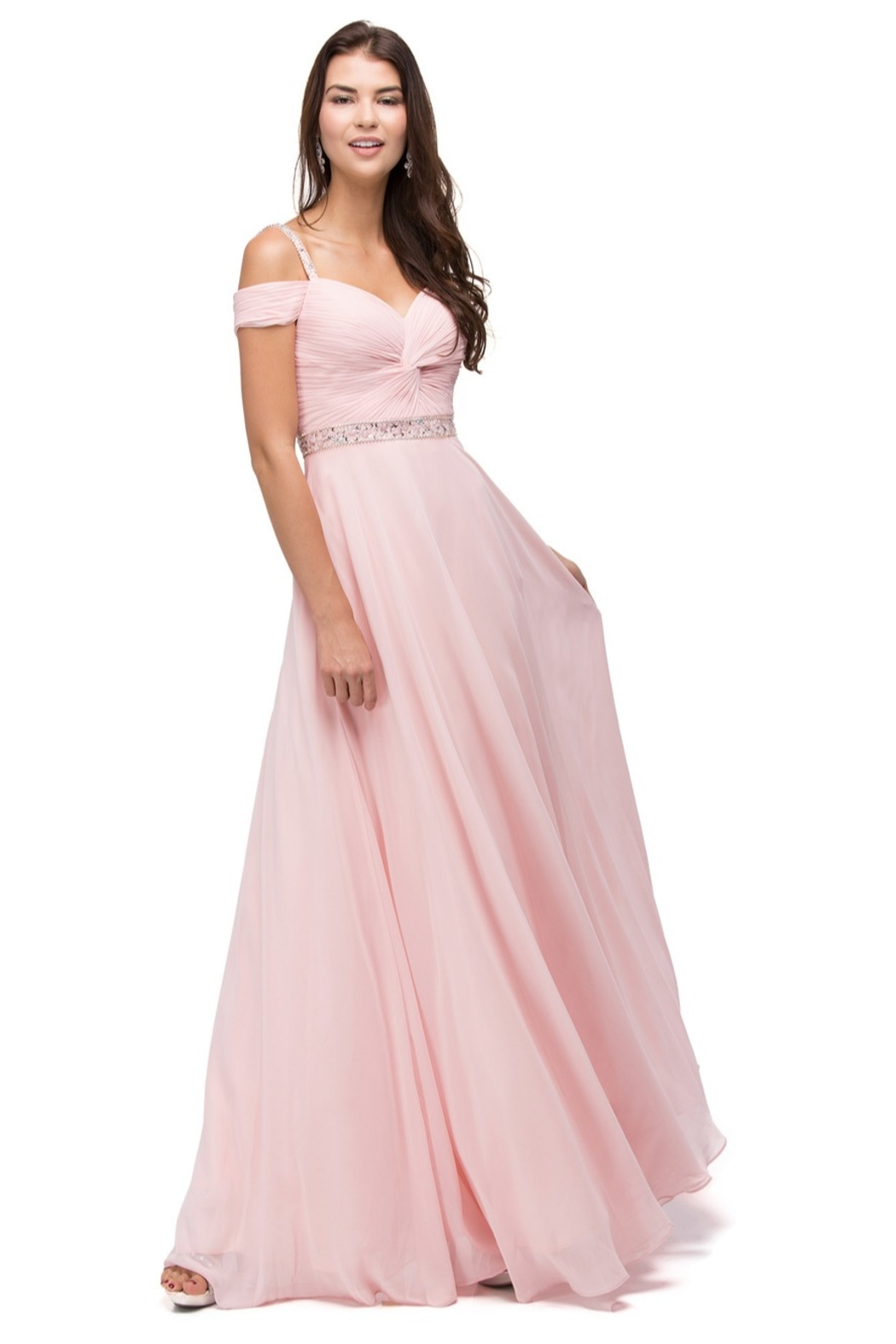 DANCING QUEEN Ruched Bejeweled Cold Shoulder Chiffon Dress - Main Image