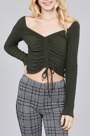 Pretty Little Things Ruched Drawstring Top - Front cropped