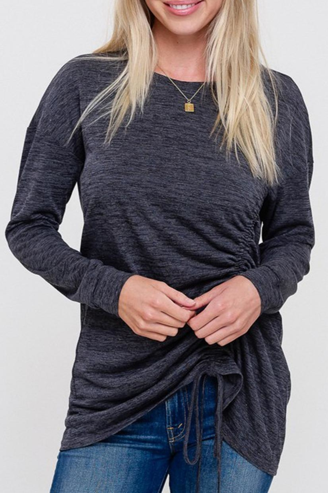 Listicle Ruched Drawstring Top - Side Cropped Image