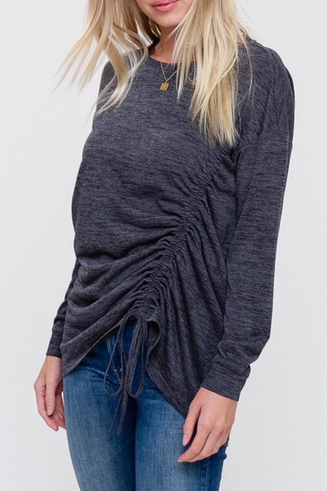 Listicle Ruched Drawstring Top - Front Full Image