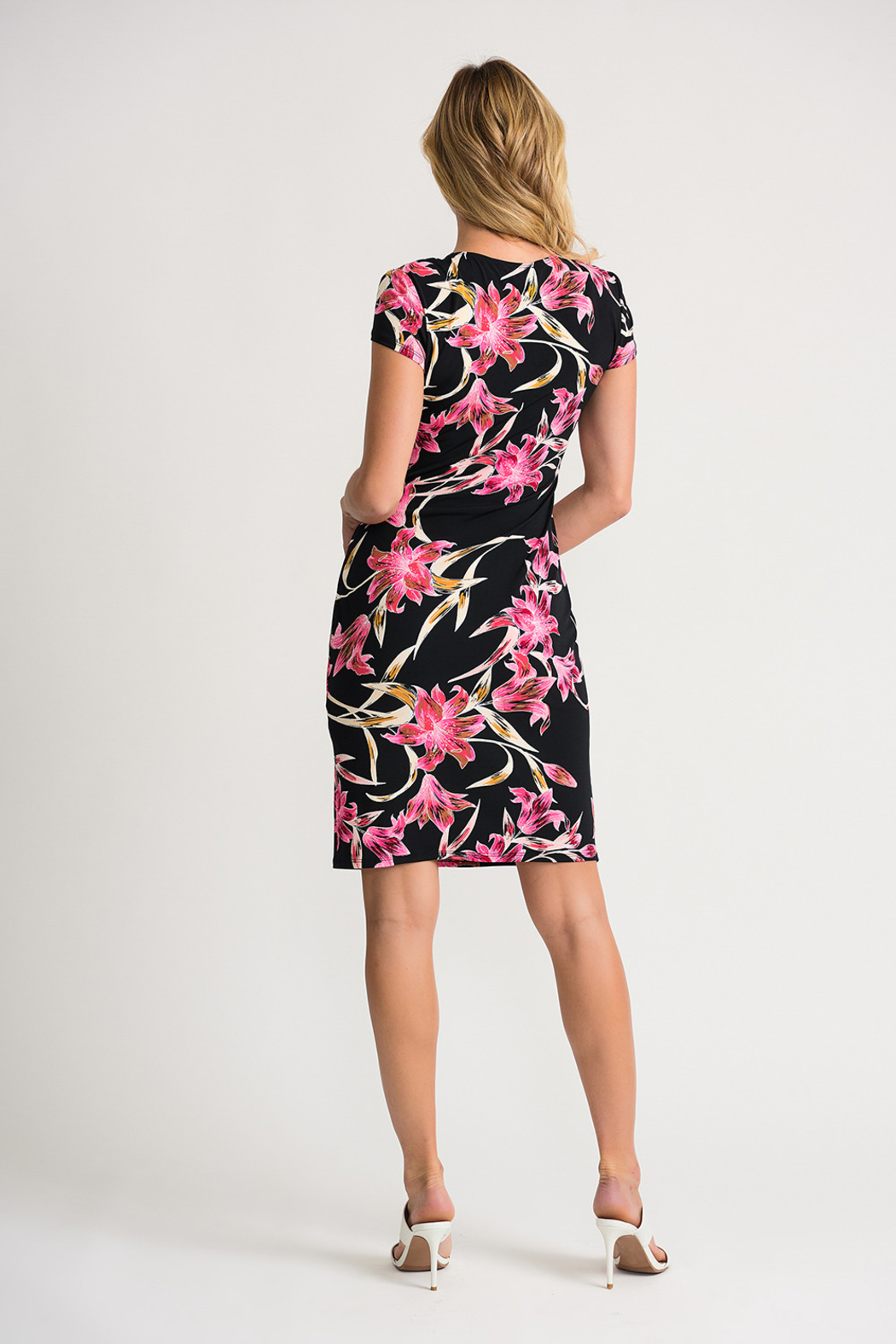 Joseph Ribkoff Ruched Floral Dress - Side Cropped Image
