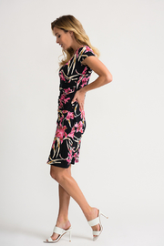 Joseph Ribkoff Ruched Floral Dress - Front full body