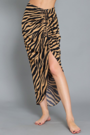 AAKAA Ruched Front Tiger Midi Skirt - Product Mini Image