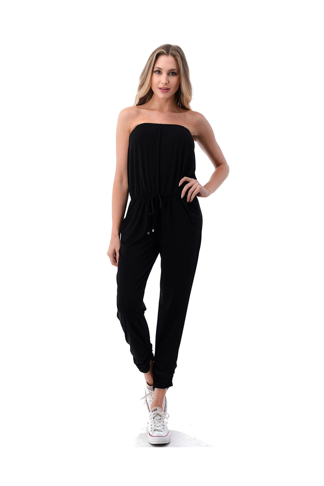 Ariella Ruched Leg Tube Top Jumpsuit - Front Cropped Image