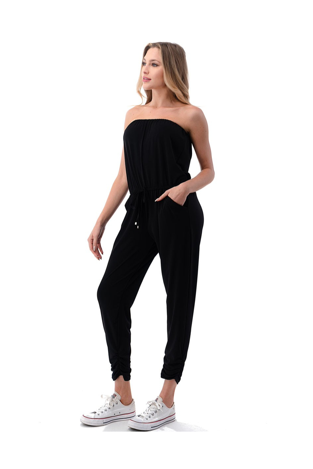 Ariella Ruched Leg Tube Top Jumpsuit - Front Full Image
