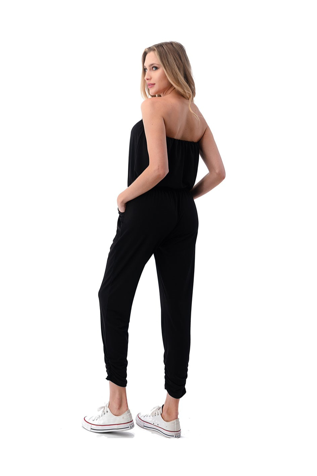 Ariella Ruched Leg Tube Top Jumpsuit - Side Cropped Image