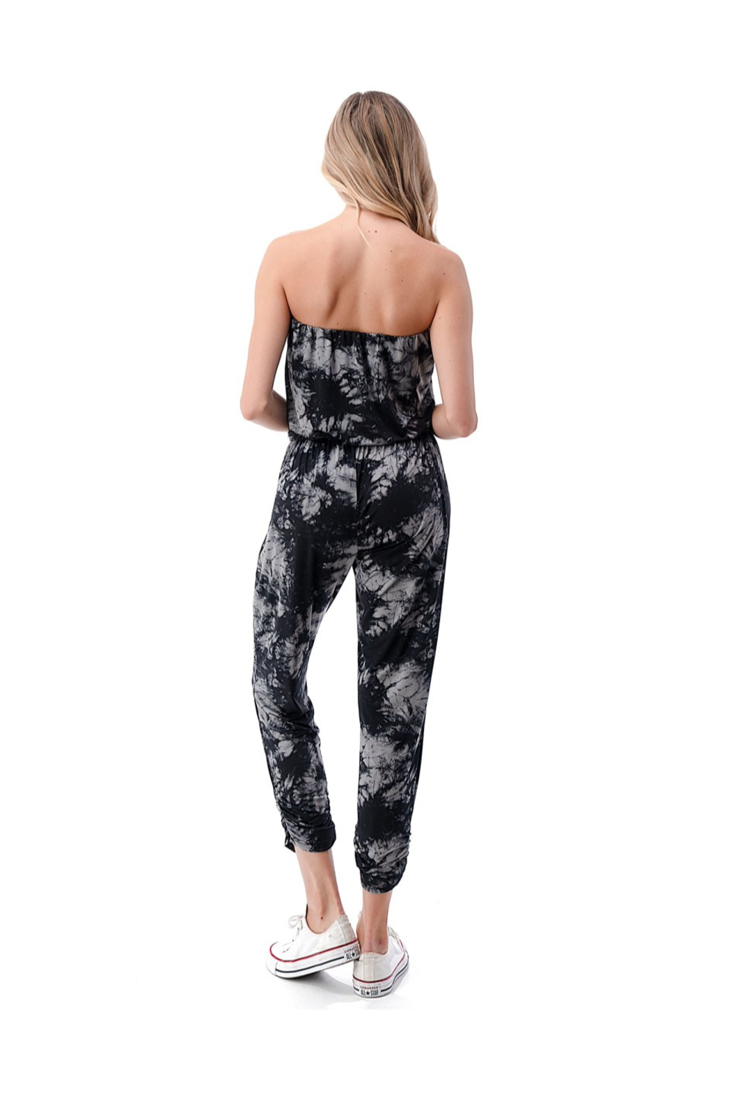 Ariella Ruched Leg Tube Top Jumpsuit - Back Cropped Image