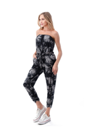 Ariella Ruched Leg Tube Top Jumpsuit - Side cropped