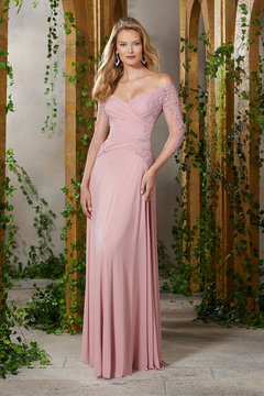 MGNY Ruched Mesh Off-the-Shoulder A-Line Dress, Rose - Product List Image