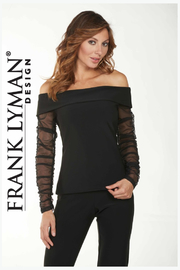 Frank Lyman Ruched Mesh Sleeve Top, Black - Product Mini Image
