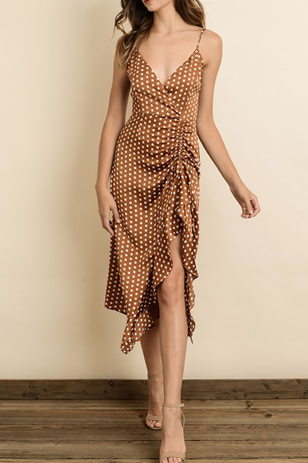 dress forum Ruched Midi Dress - Front Cropped Image