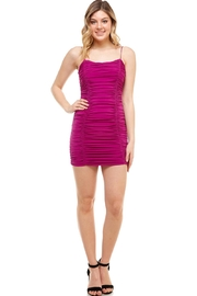 blue blush Ruched Mini Dress - Front cropped