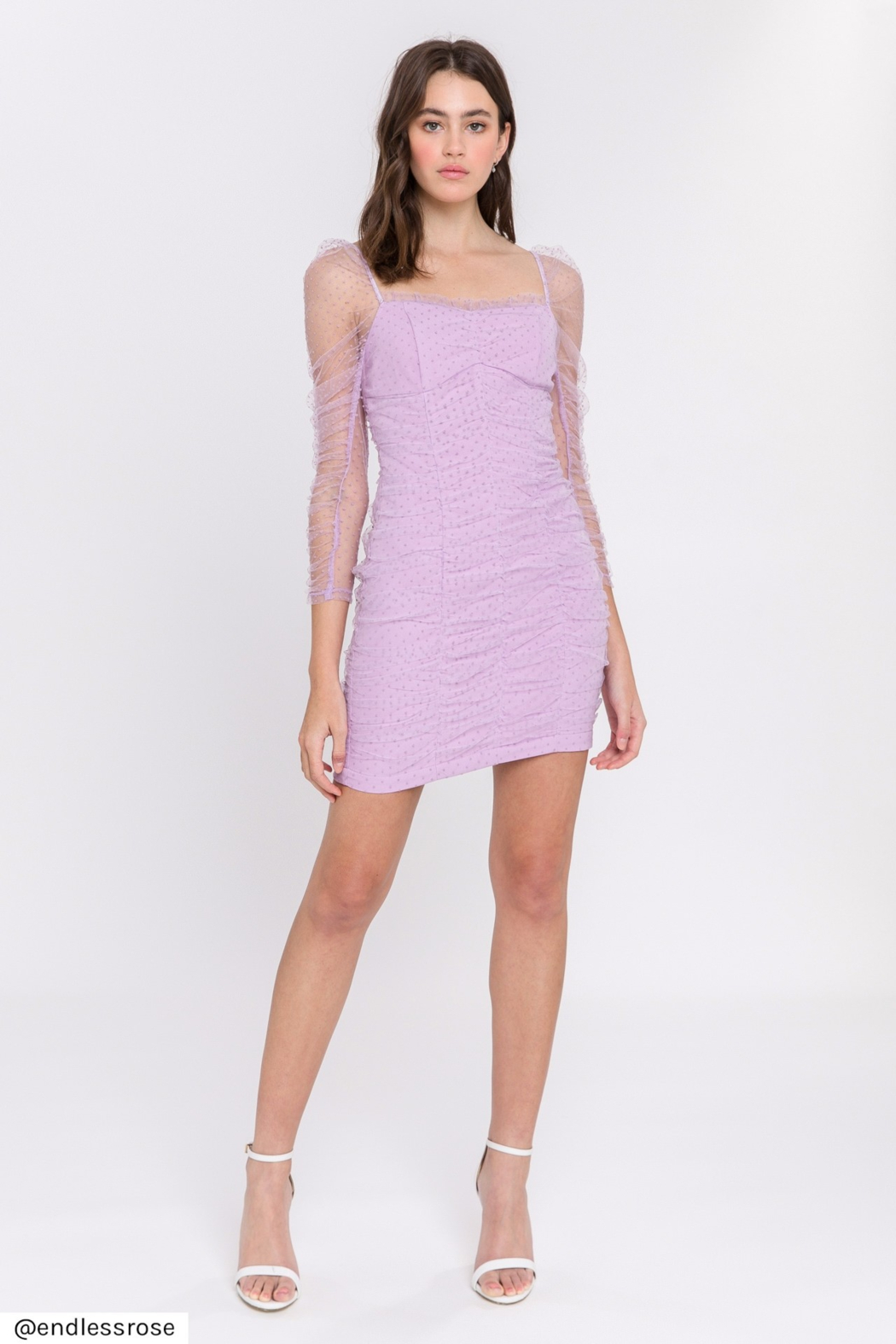 FREE THE ROSES Ruched Mini Dress - Main Image