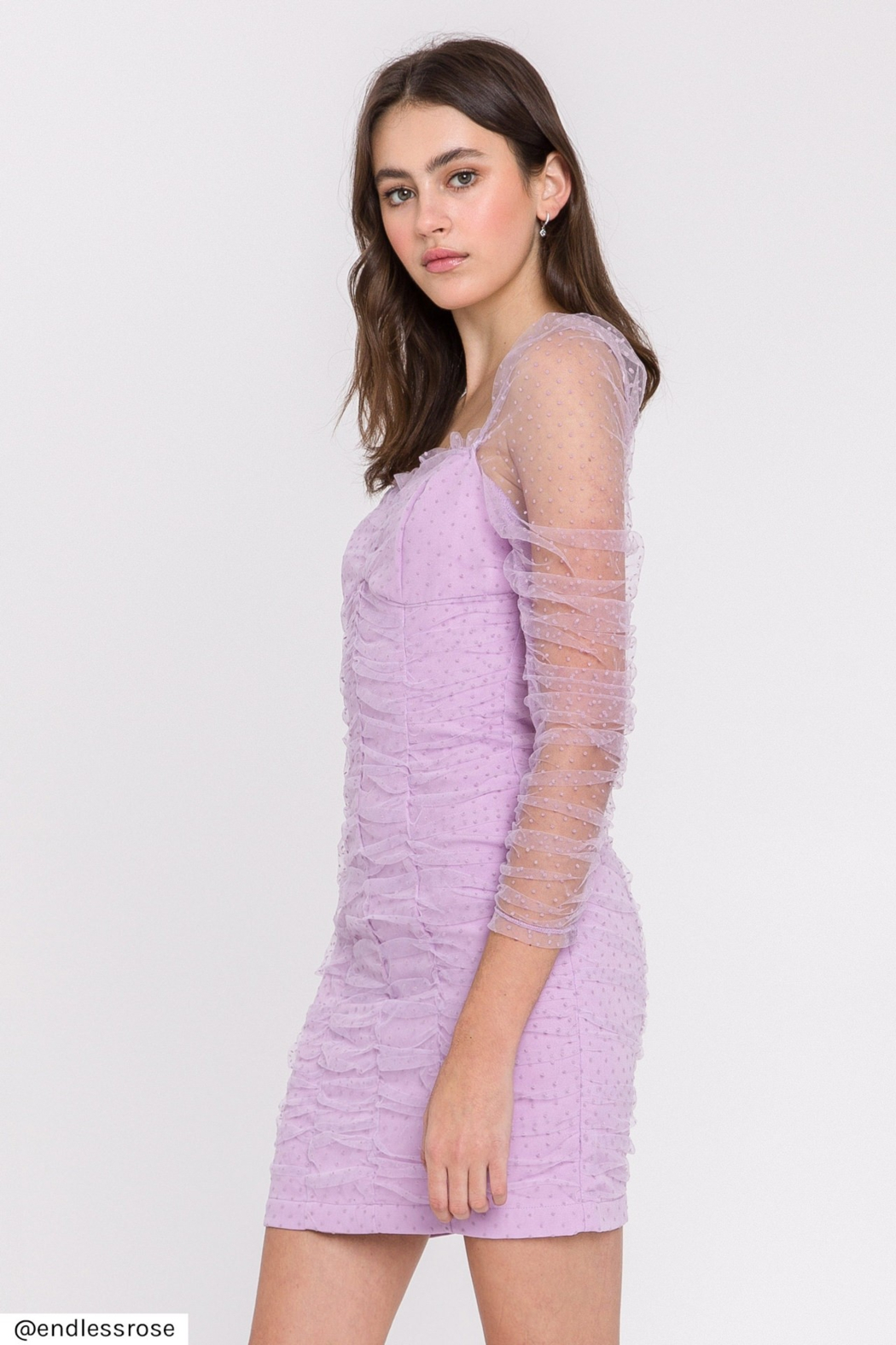 FREE THE ROSES Ruched Mini Dress - Side Cropped Image