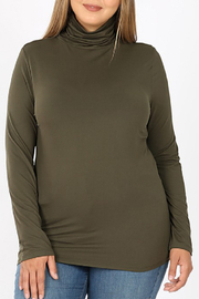Zenana Outfitters Ruched Neck Tee Curvy - Front cropped