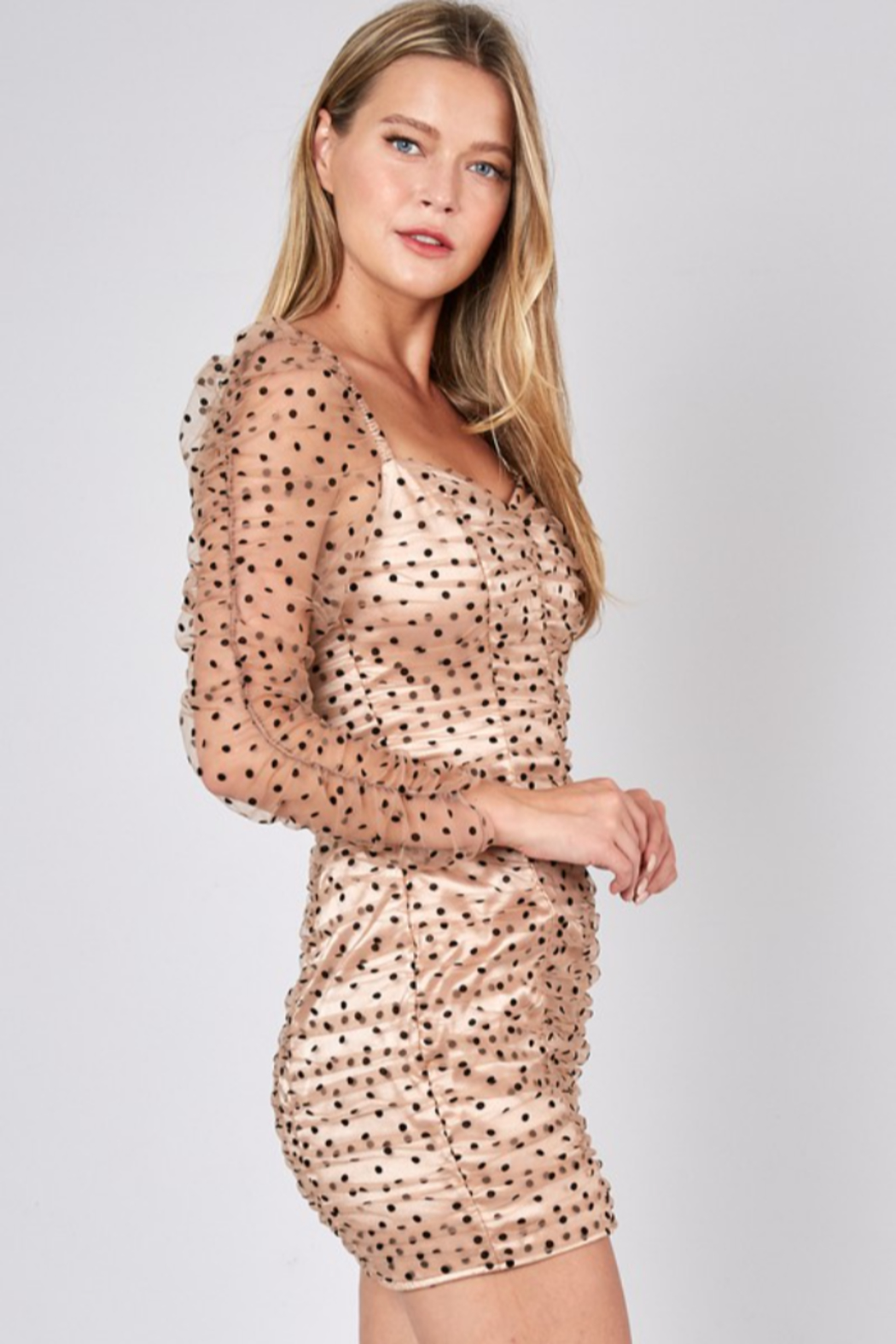 Do + Be  Ruched Polka Dot Dress - Side Cropped Image