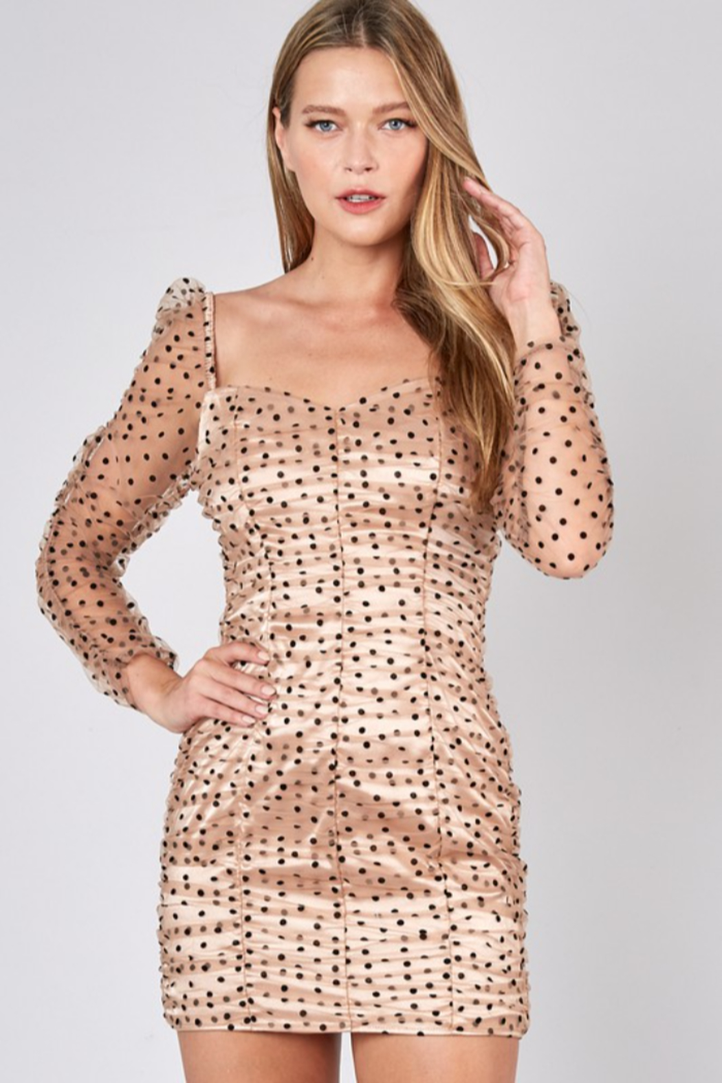 Do + Be  Ruched Polka Dot Dress - Front Cropped Image