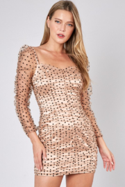 Do + Be  Ruched Polka Dot Dress - Front full body