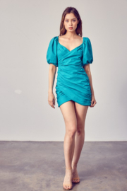 Do + Be  Ruched Puff Sleeve Dress - Back cropped