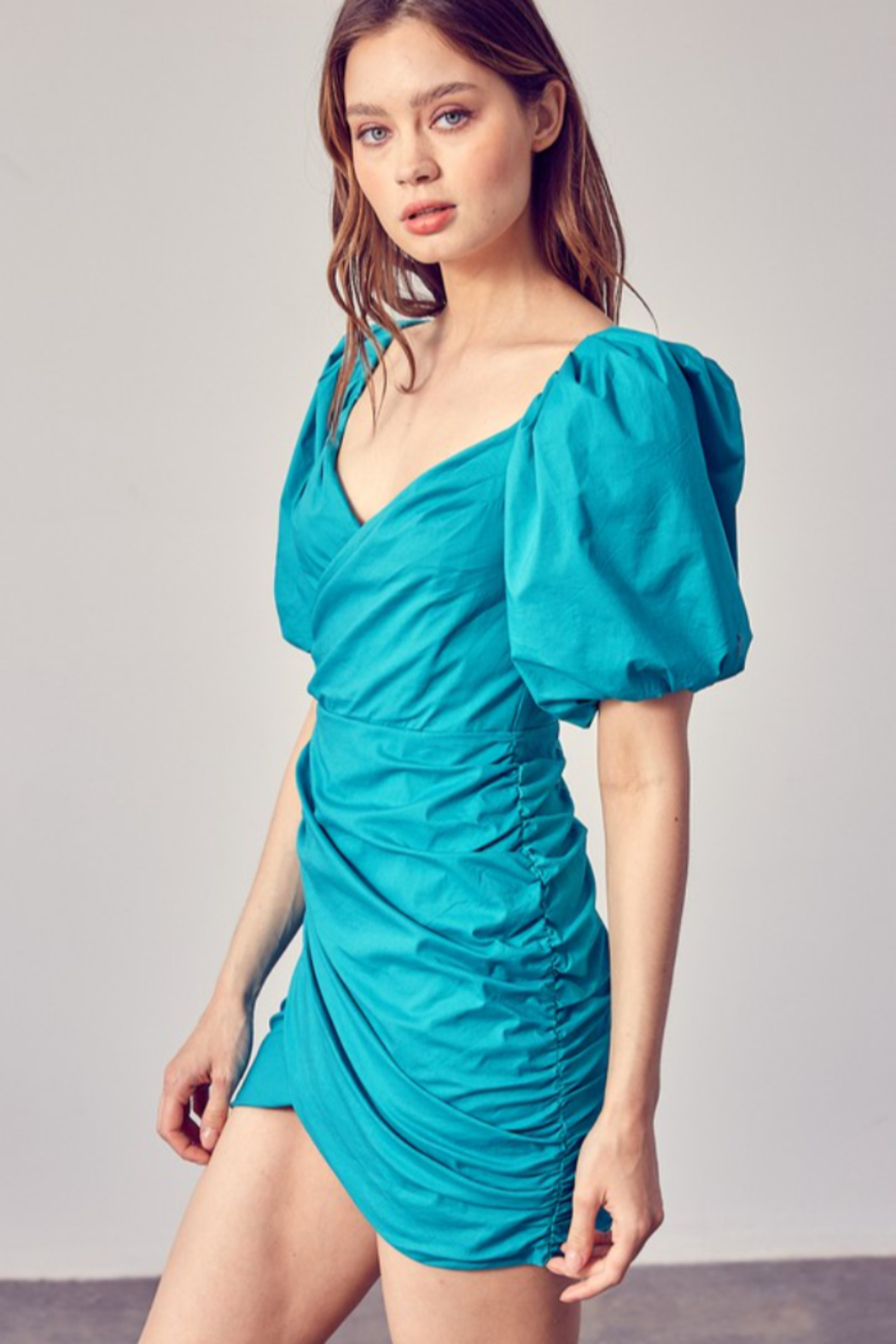 Do + Be  Ruched Puff Sleeve Dress - Front Full Image