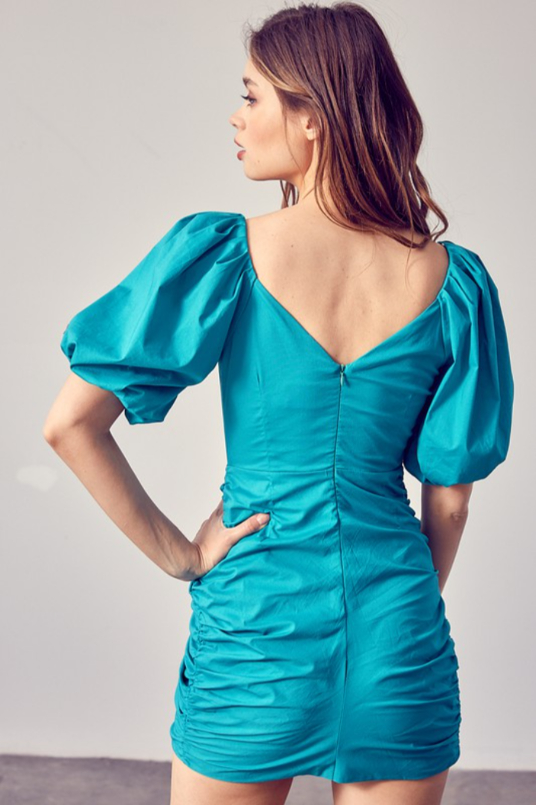 Do + Be  Ruched Puff Sleeve Dress - Side Cropped Image