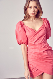 Do + Be  Ruched Puff Sleeve Dress - Product Mini Image