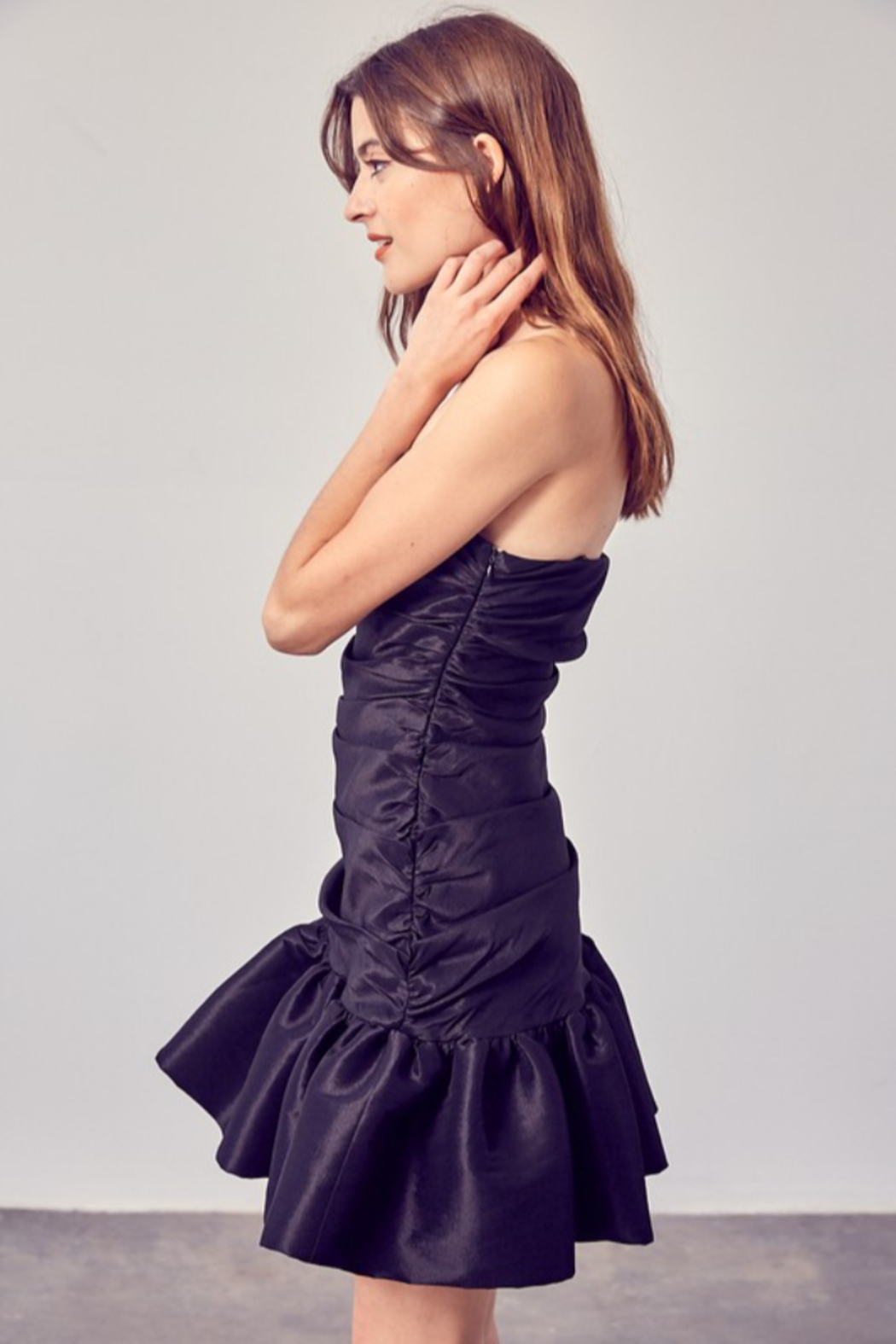 Do + Be  Ruched Ruffle Bottom Dress - Front Full Image