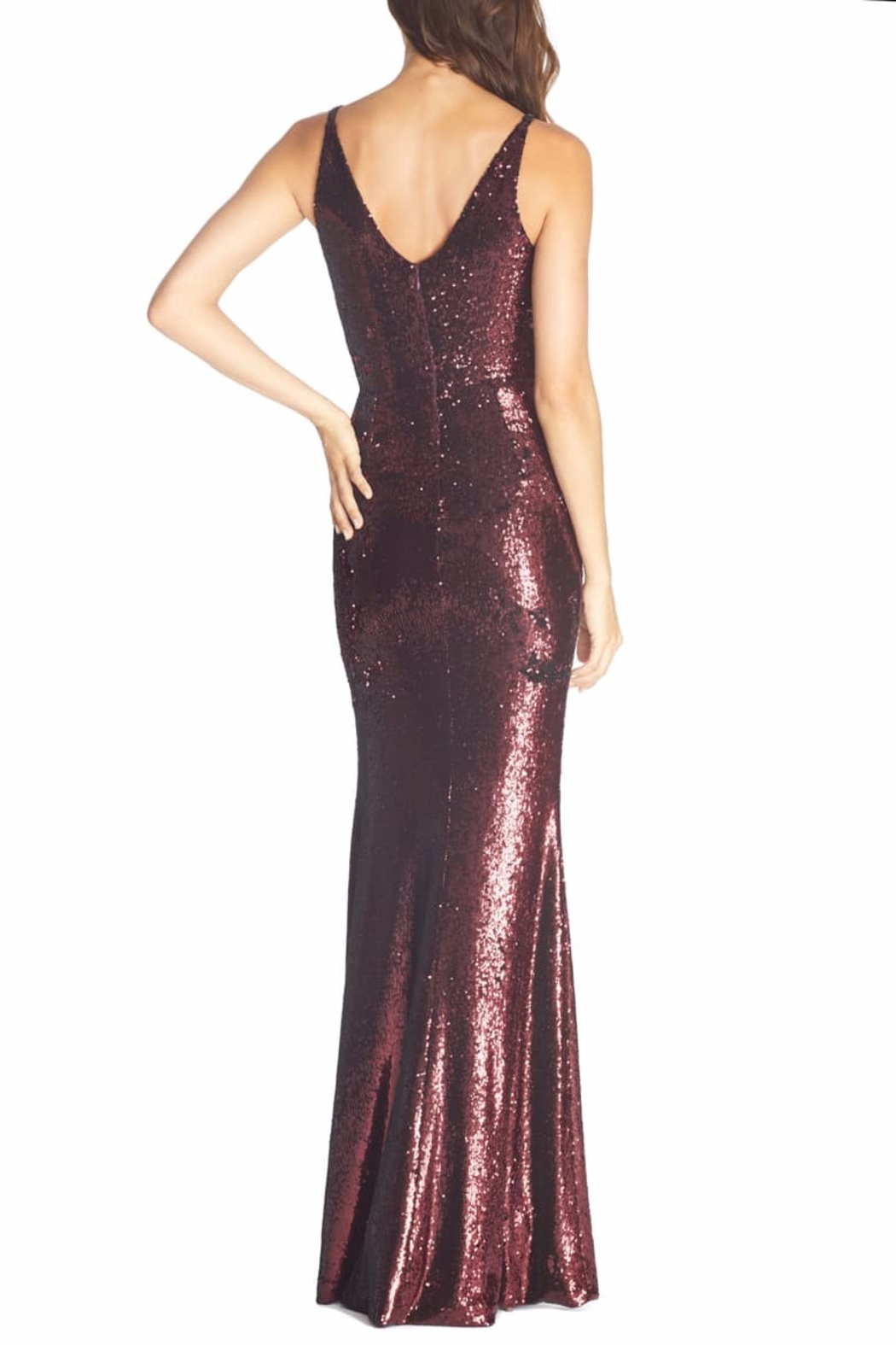 Dress the Population Ruched Sequin Mermaid Dress - Side Cropped Image