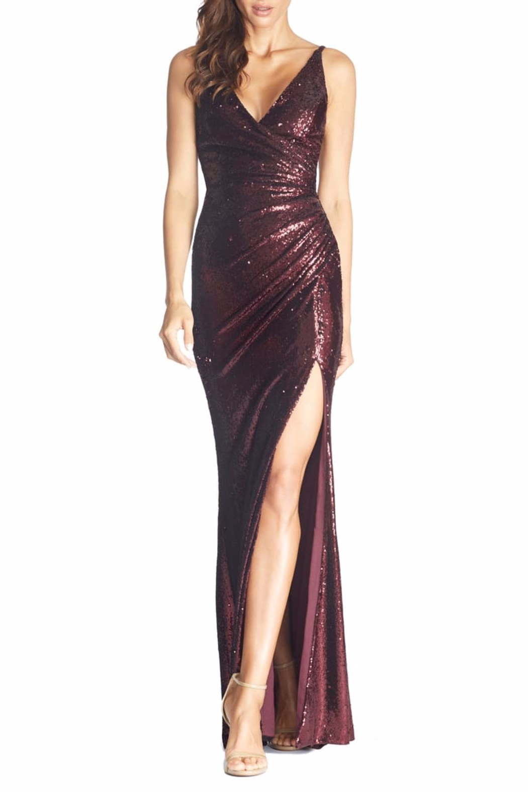 Dress the Population Ruched Sequin Mermaid Dress - Front Cropped Image
